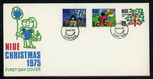 Niue Scott #174-176 FIRST DAY COVER Christmas 1975 $$