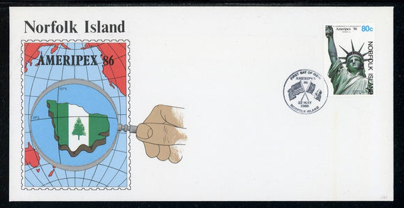 Norfolk Island Scott #384 FIRST DAY COVER Ameripex'86 Stamp EXPO $$