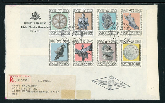San Marino Scott #832-839 FIRST DAY COVER 16th Century Armor $$