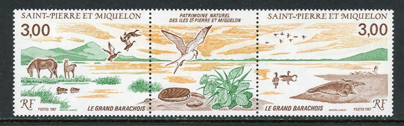St. Pierre & Miquelon Scott #505a MNH PAIR w/LABEL Nature Preserve FAUNA CV$4+