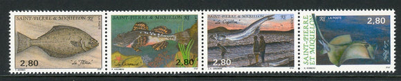 St. Pierre & Miquelon Scott #592 MNH STRIP Fish FAUNA CV$6+