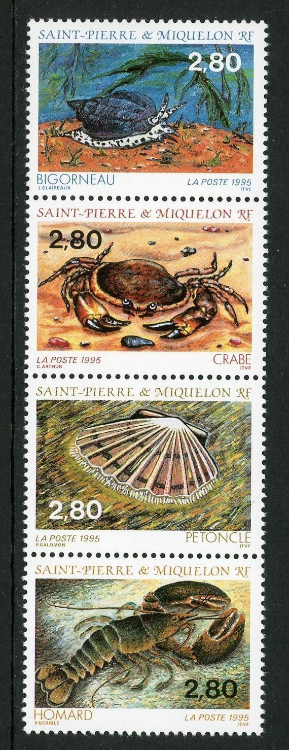 St. Pierre & Miquelon Scott #616 MNH STRIP Shellfish FAUNA CV$6+