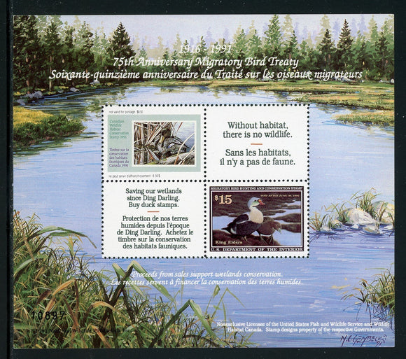 United States Scott #RW58 MNH S/S 1991 Migratory Bird Treaty with Canada $$