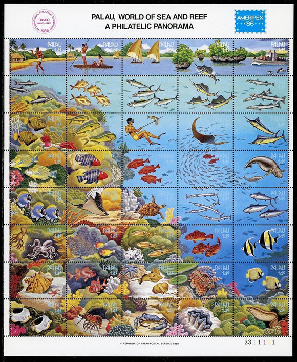 Palau Scott #103 MNH SHEET World of the Sea AMERIPEX '86 CV$37+