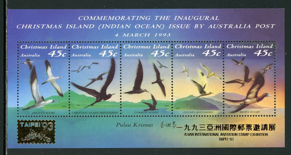 Christmas Island Scott #349g MNH S/S OVPT Taipei '93 on Seabirds FAUNA CV$9+