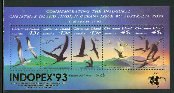Christmas Island Scott #349h MNH S/S OVPT Indopex '93 on Seabirds FAUNA CV$7+
