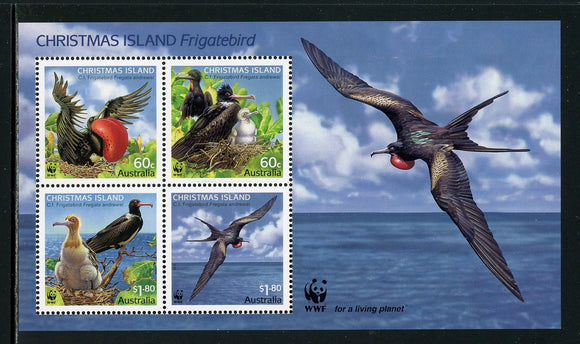 Christmas Island Scott #488c MNH S/S Worldwide Fund for Nature WWF Birds CV$14+