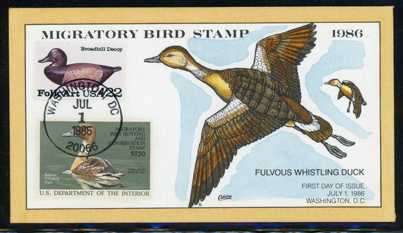 US Migratory Bird Duck Stamp FDC: Scott #RW53 Hand Painted Collins 1986 $$$