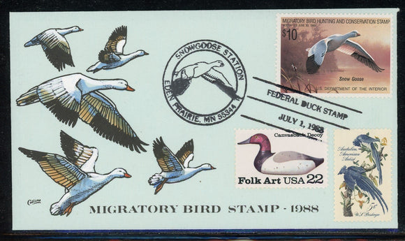 US Migratory Bird Duck Stamp FDC: Scott #RW55 Hand Painted Collins 1988 $$$