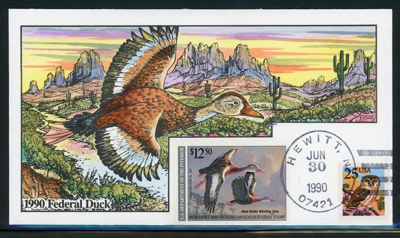 US Migratory Bird Duck Stamp FDC: Scott #RW57 Hand Painted Collins 1990 $$$