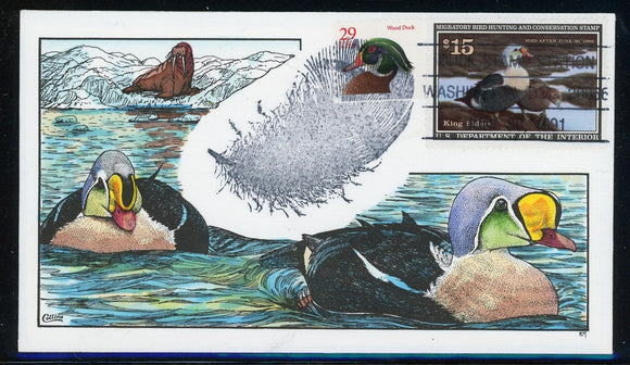 US Migratory Bird Duck Stamp FDC: Scott #RW58 Hand Painted Collins 1991 $$$