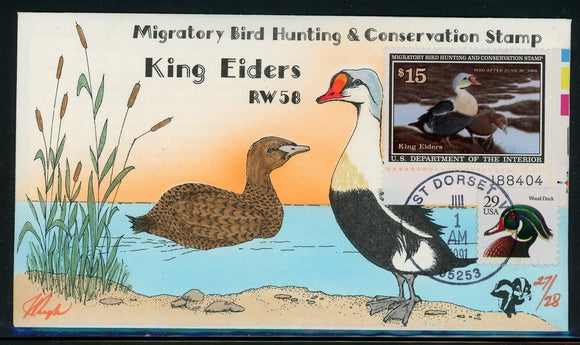 US Migratory Bird Duck Stamp FDC: Scott #RW58 Hand Painted Pugh 1991 $$$