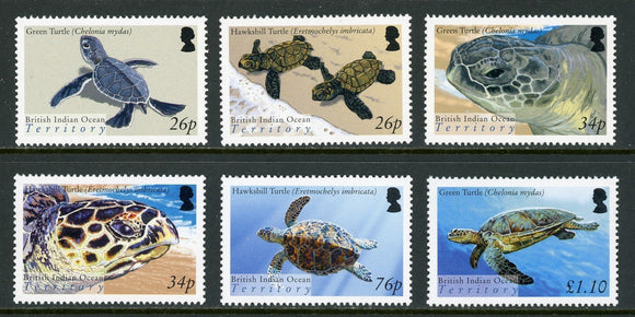 BIOT Scott #290-295 MNH Turtles FAUNA CV$14+