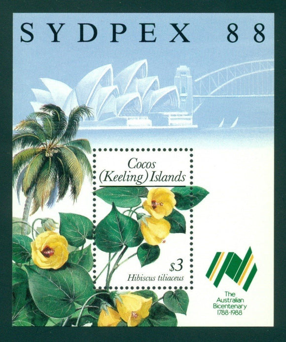 Cocos Islands Scott #199 MNH S/S Sydpex '88 Stamp Show Flowers FLORA CV$7+