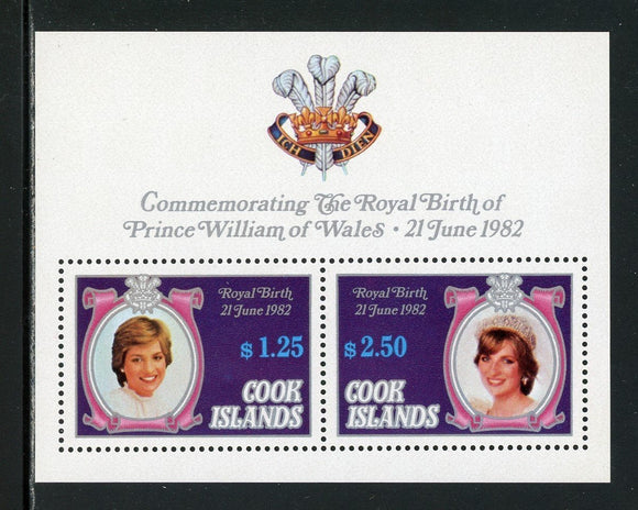 Cook Islands Scott #682c MNH S/S OVPT Royal Birth on Princess Diana CV$5+