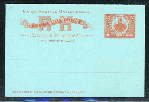 Haiti Postal Stationery: PC H&G #16 2c+2c Vermilion/Blue Reply Card (1906) $$$