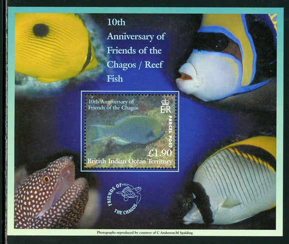 BIOT Scott #254 MNH S/S Friends of the Chagos Reef FAUNA Fish CV$12+