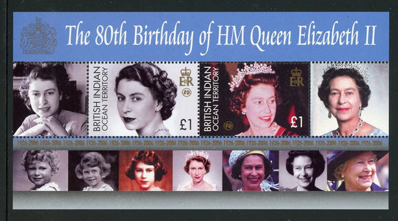 BIOT Scott #321 MNH S/S Queen Elizabeth II 80th Birthday CV$10+