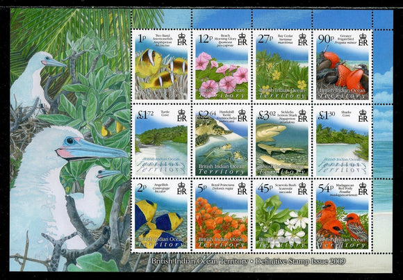 BIOT Scott #394a MNH SHEET Flora Fauna Sites CV$45+