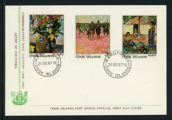 Cook Islands Scott #222//226 FIRST DAY COVER Gaugin Paintings ART $$