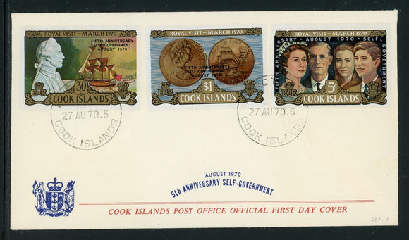 Cook Islands Scott #284-286 FIRST DAY COVER Self Government 5th ANN $$