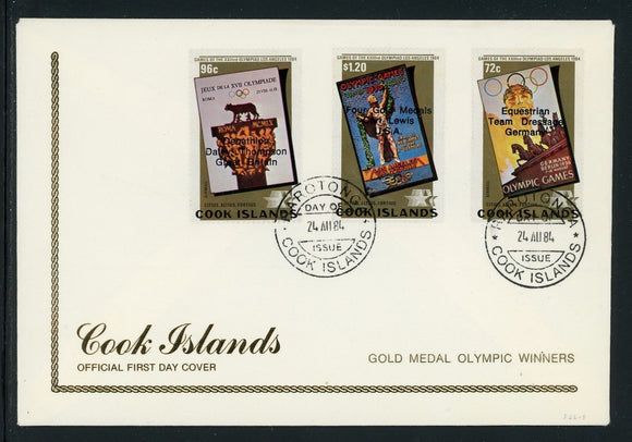 Cook Islands Scott #826-828 FIRST DAY COVER OLYMPICS 1984 Los Angeles $$