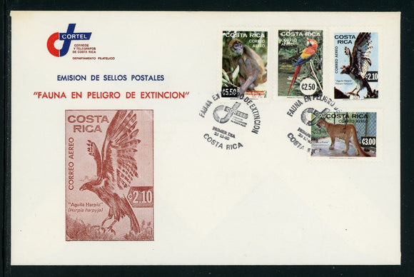 Costa Rica Scott #C820-C823 FIRST DAY COVER Endangered Wildlife FAUNA $$