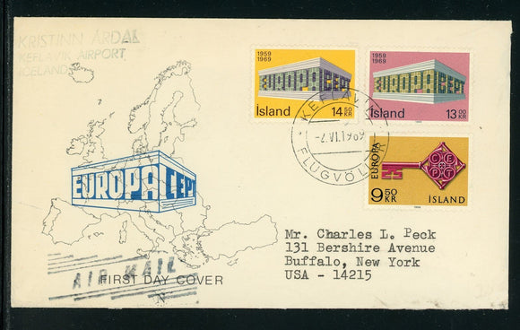 Iceland Scott #395-396 FIRST DAY COVER FLOWN Keflavik to New York Europa $$