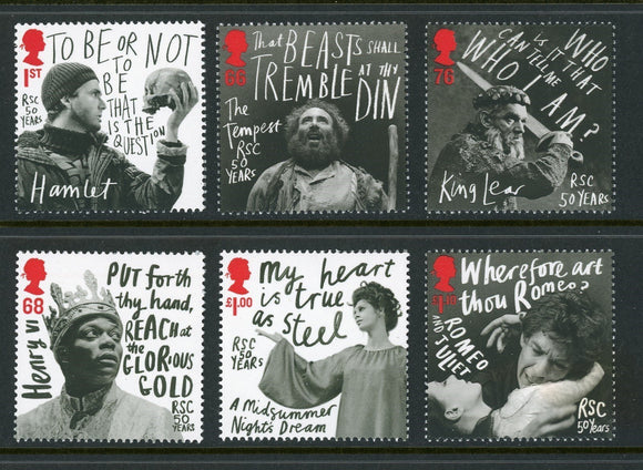 Great Britain Scott #2894-2899 MNH Royal Shakespeare Company CV$14+