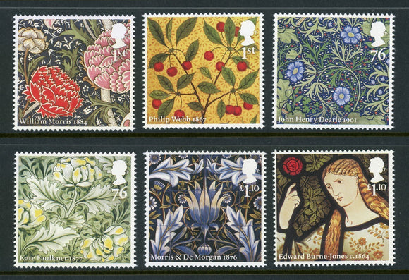 Great Britain Scott #2902-2907 MNH William Morris & Company Designs CV$14+