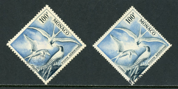 Monaco Scott #C41-C41a U Sea Swallows 100 fr PERF 11 & PERF 13 FAUNA CV$30+