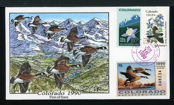 US Hand-Painted Cover by MILFORD COLORADO #1 1990 DUCK STAMP $$$