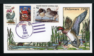 US Hand-Painted Cover by MILFORD DELAWARE #11 1990 DUCK STAMP $$$