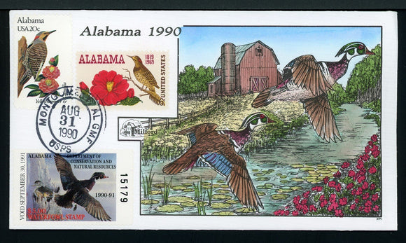 US Hand-Painted Cover by MILFORD ALABAMA #12 1990 DUCK STAMP $$$