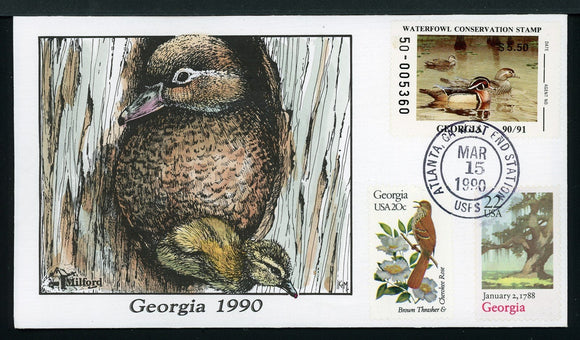 US Hand-Painted Cover by MILFORD GEORGIA #6 1990 DUCK STAMP $$$