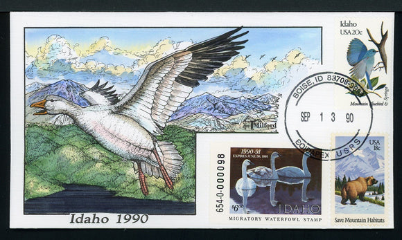 US Hand-Painted Cover by MILFORD IDAHO #4 1990 DUCK STAMP $$$