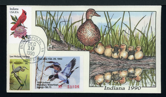 US Hand-Painted Cover by MILFORD INDIANA #16 1990 DUCK STAMP $$$