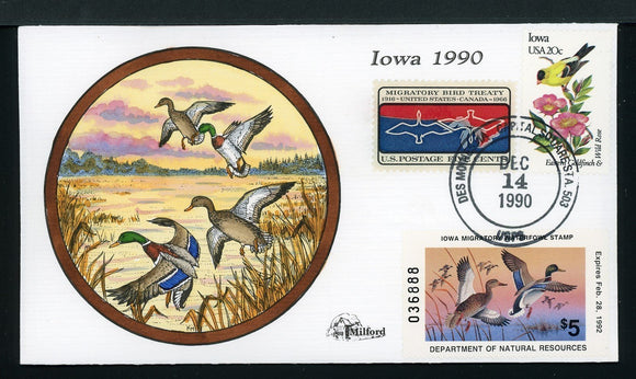 US Hand-Painted Cover by MILFORD IOWA #20 1990 DUCK STAMP $$$