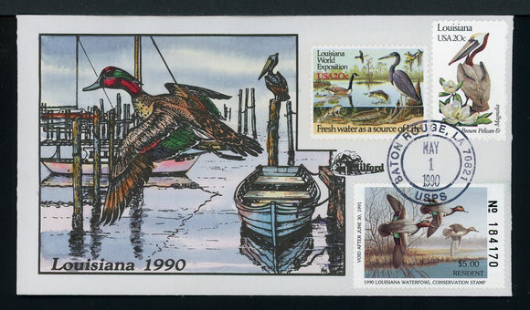 US Hand-Painted Cover by MILFORD LOUISIANA #2 1990 DUCK STAMP $$$