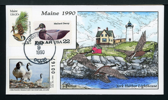 US Hand-Painted Cover by MILFORD MAINE #7 1990 DUCK STAMP $$$