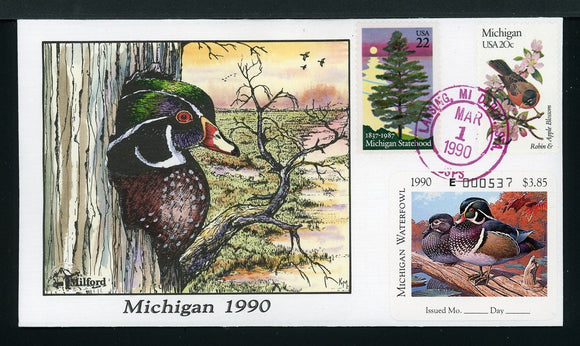 US Hand-Painted Cover by MILFORD MICHIGAN #15 1990 DUCK STAMP $$$