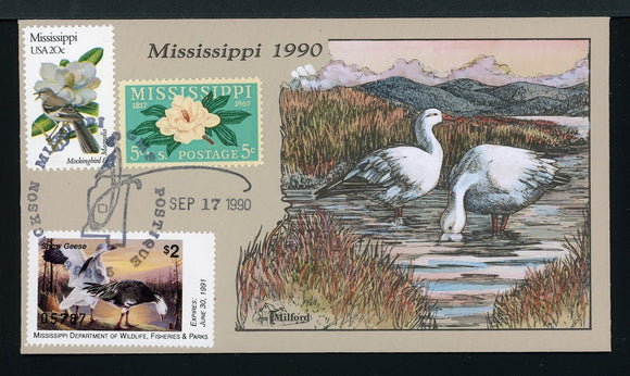 US Hand-Painted Cover by MILFORD MISSISSIPPI #15 1990 DUCK STAMP $$$