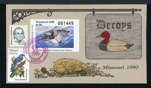 US Hand-Painted Cover by MILFORD MISSOURI #12 1990 DUCK STAMP $$$