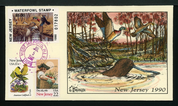 US Hand-Painted Cover by MILFORD NEW JERSEY #7 1990 DUCK STAMP $$$