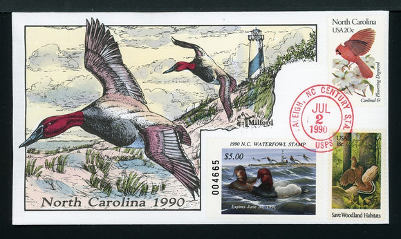 US Hand-Painted Cover by MILFORD NORTH CAROLINA #8 1990 DUCK STAMP $$$