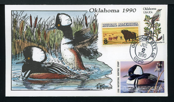 US Hand-Painted Cover by MILFORD OKLAHOMA #11 1990 DUCK STAMP $$$
