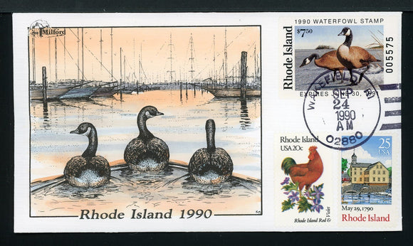 US Hand-Painted Cover by MILFORD RHODE ISLAND #2 1990 DUCK STAMP $$$
