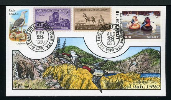 US Hand-Painted Cover by MILFORD UTAH #5 1990 DUCK STAMP $$$