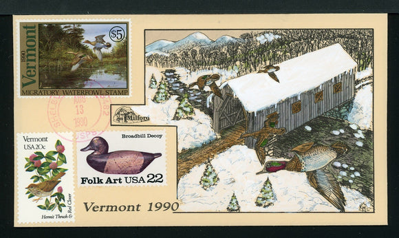 US Hand-Painted Cover by MILFORD VERMONT #5 1990 DUCK STAMP $$$
