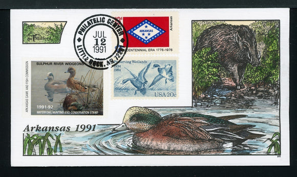 US Hand-Painted Cover by MILFORD ARKANSAS #11 1991 DUCK STAMP $$$
